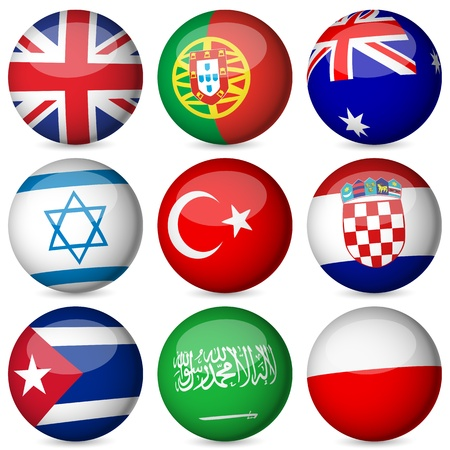 cuba flag: National flag orb set on a white background. Vector illustration.