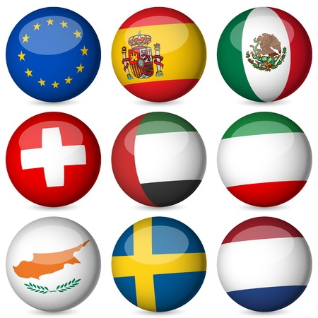 switzerland: National flag orb set on a white background. Vector illustration.