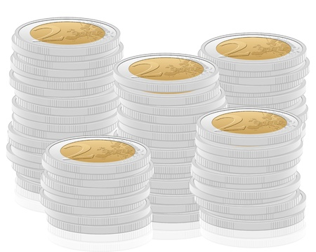 Stack two euro coins on white background. Vector illustration. Vector