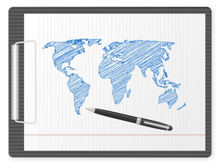 Clipboard with drawing world map. Vector illustration. Vector