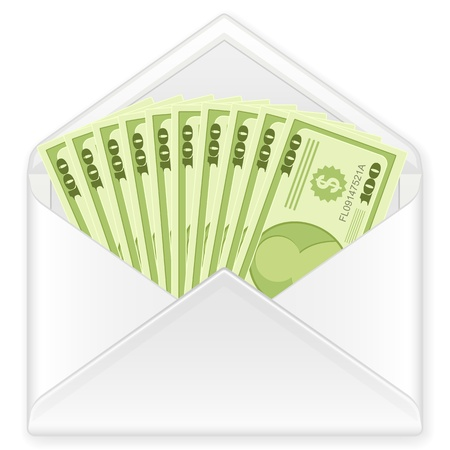 Open envelope containing dollar banknotes on a white background. Vector illustration. Vector
