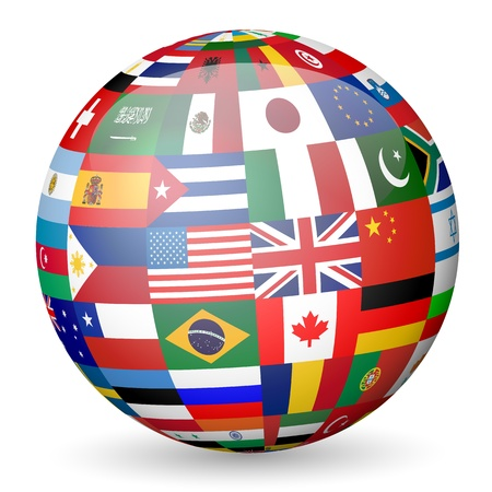 National flags sphere on white background. Vector illustration. Vector