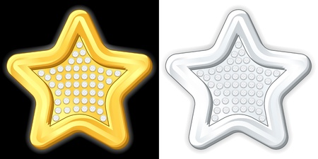 jewelry vector: Gold and silver jewelry star. Vector illustration.