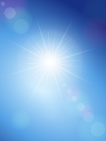 sunlight sky: Sunbeam on a blue sky. Vector illustration.