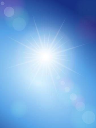 himmelsblå: Sunbeam på en blå himmel. Vector illustration. Illustration