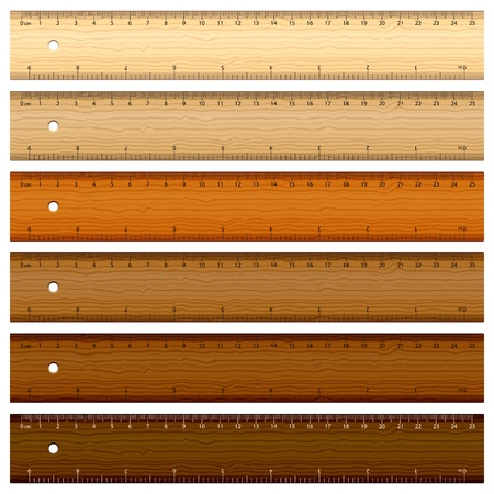 centimeters: Six wooden rulers on white background. Vector illustration.