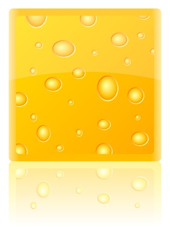chunk: Piece of cheese on a white background. Vector illustration.