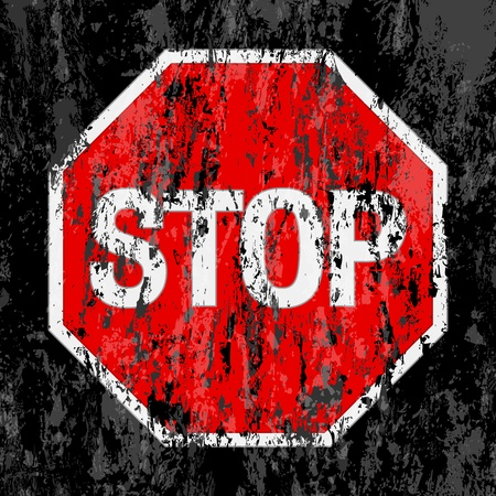 prohibition: grunge stop sign background. Vector illustrator.