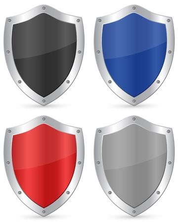 shield emblem: Scudo set su uno sfondo bianco. Illustrazione vettoriale. Vettoriali