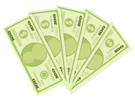 �conomie verte: Le cinq dollars des centaines billets isol� sur un fond blanc Illustration