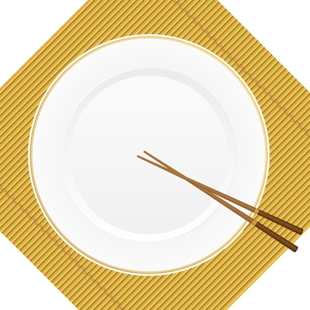 Empty white plate with chopsticks on a bamboo cover  illustration