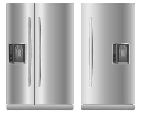 Two domestic metallic refrigerators illustration