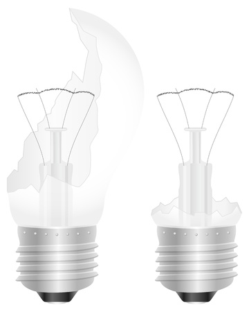 Broken light bulb on a white background  illustration  Vector