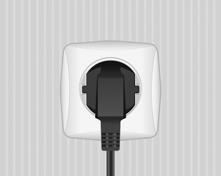 electric socket: Electric plug and socket on a wall  illustration