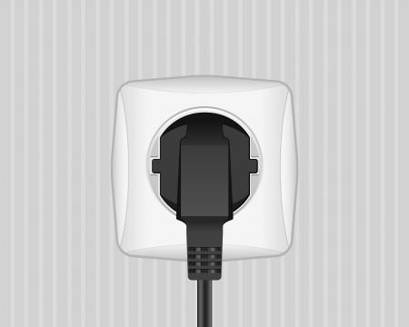 toma corriente: Enchufe el�ctrico y el enchufe en una ilustraci�n de la pared
