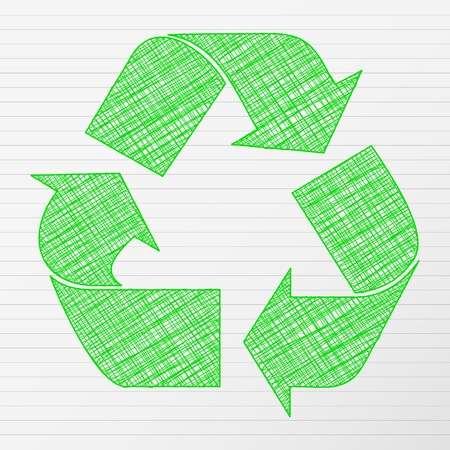 Verde de reciclaje símbolo de dibujo ilustración vectorial