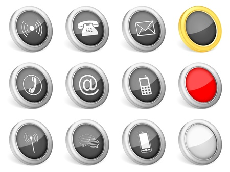 3d icons communication on white background  Vector illustration  Vector