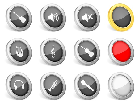 3d icons music on white background  Vector illustration  Vector