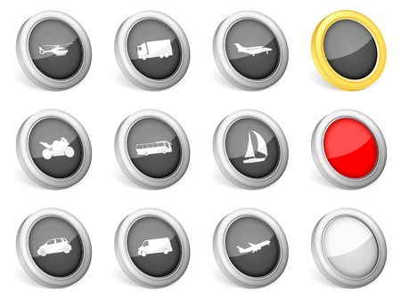 3d icons transport on white background  Vector illustration  Vector