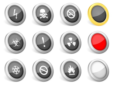3d icons warning sign on white background  Vector illustration Stock Vector - 12832039
