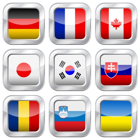 slovakia flag: National flag button set on a white background  Vector illustration
