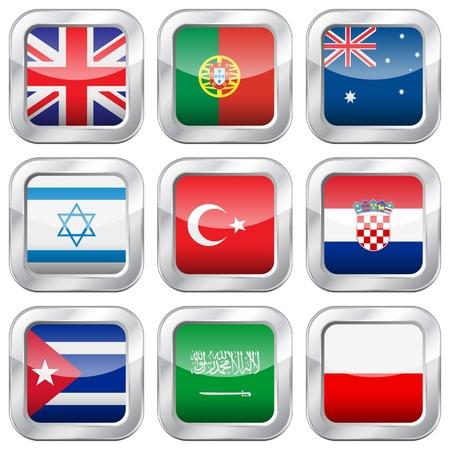 flag croatia: Bot�n de bandera nacional situado en una ilustraci�n de fondo vector