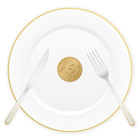 Dish with cutlery and 50 euro cent coin  Vector illustration  Vector