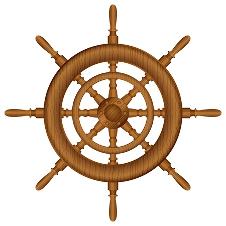 ship steering wheel: Helm wheel on white background  Vector illustration