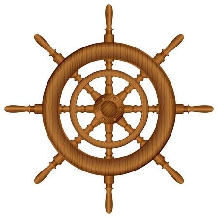timone: Ruota del timone su bianco illustrazione vettoriale sfondo