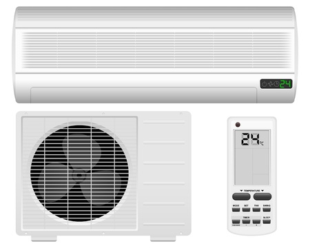 conditioner: Air conditioner system on white background  Vector illustration