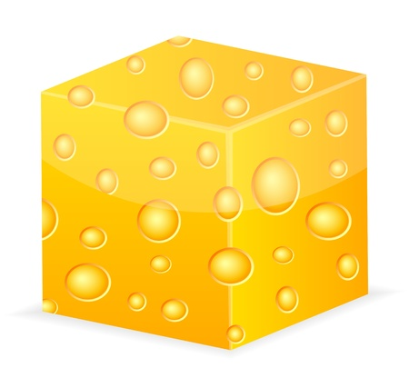 chunk: Cube of cheese on a white background  Vector illustration