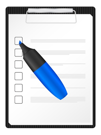 text marker: Checklist on clipboard with red text marker  Vector illustration
