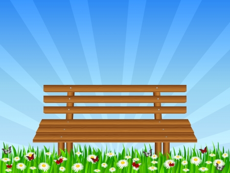 garden bench: Wooden bench on park  Vector illustration