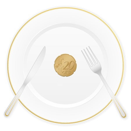 Dish with cutlery and 20 euro cent coin  Vector illustration  Vector