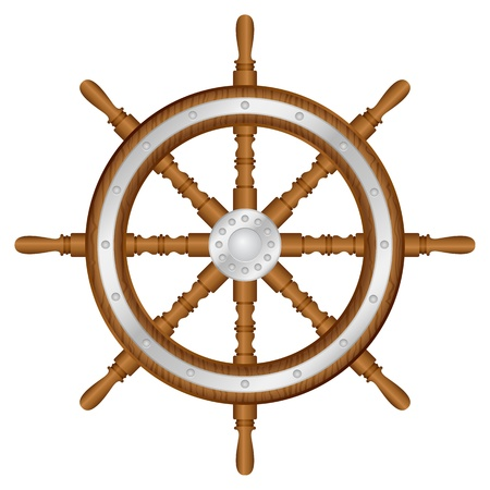 Helm wheel on white background  Vector illustration