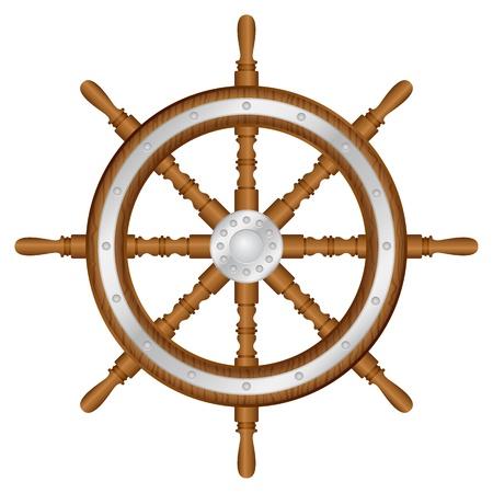 timon barco: Rueda de tim�n en la ilustraci�n vectorial de fondo blanco