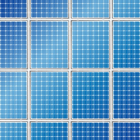 発電機: 青い太陽電池パネルの詳細な背景ベクトル イラスト