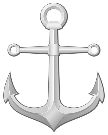 Grey anchor on a white background. Vector illustration. Illustration