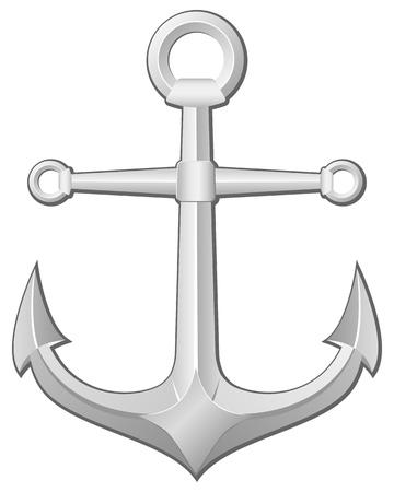 naval: Grey anchor on a white background. Vector illustration. Illustration