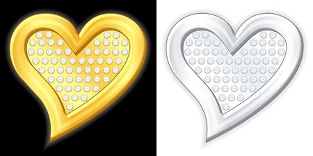 joyas de plata: El oro y la plata, ilustraci�n vectorial coraz�n de la joyer�a Vectores
