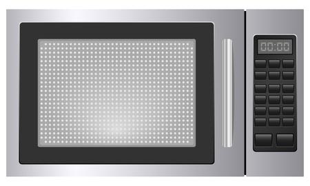 microwave oven: Microondas en blanco ilustraci�n vectorial de fondo Vectores