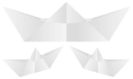 Paper boat set on white background  Vector illustration  Vector