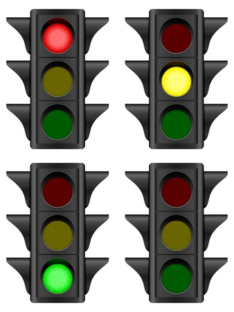 Traffic light set on a white background  Vector illustration  Vector