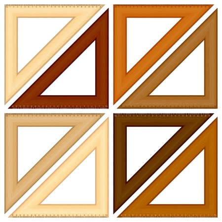millimeters: Wooden triangle ruler set on a white background  Vector illustration