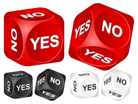 Yes, no dice set on white background  Vector illustration  Stock Vector - 13023111