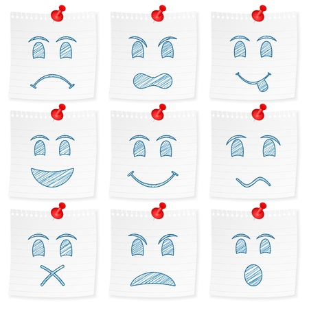 shut up: Paper note and drawing face on a white background  Vector illustration  Illustration
