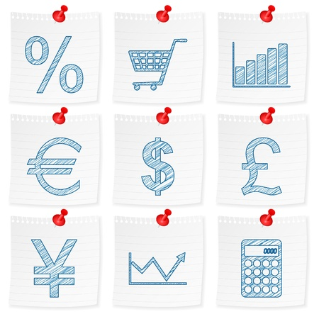 straight pin: Paper note and drawing finances symbol on a white background  Vector illustration