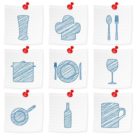 Paper note and drawing kitchenware symbol on a white background  Vector illustration  Vector