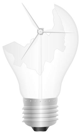 Broken light bulb with wind generator illustration