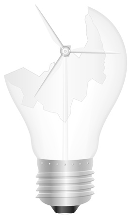 Broken light bulb with wind generator illustration Stock Vector - 13618285